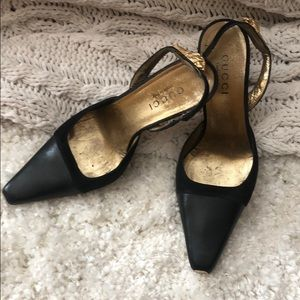 Gucci strap heals with new soles 3 inch heel.